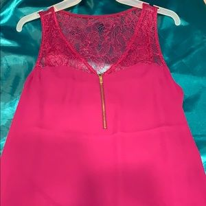 Pink tank top with lace.